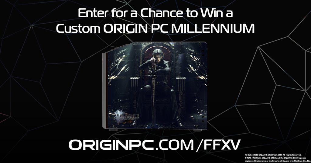 Weve launched a new giveaway for a new MILLENNIUM Gaming desktop with an HD UV Glass Print of FINAL FANTASY XV WINDOWS EDITION artwork! Giveaway ends on 5/3, and the winner will be announced on #ORIGINPCLIVE! Sign up here for your chance to win: originpc.com/FFXV