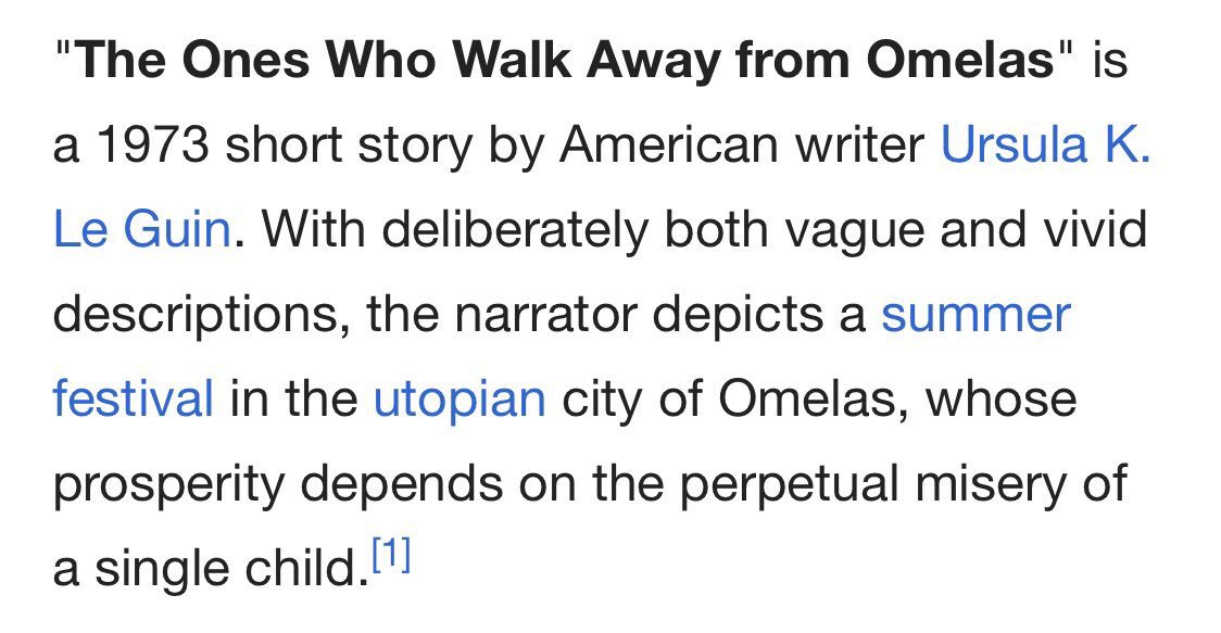 utopian society in the ones who walk away from omelas Analysis on the ones who walk away from omelas it is a story about a utopian society called omelas wherein jesus story i the one's who walk away from omelas.
