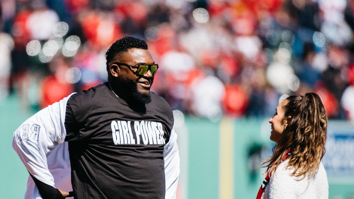 David Ortiz just ripped off his Red Sox jersey to reveal a Girl Power T-shirt to Aly Raisman ❤️  📸: @RedSox