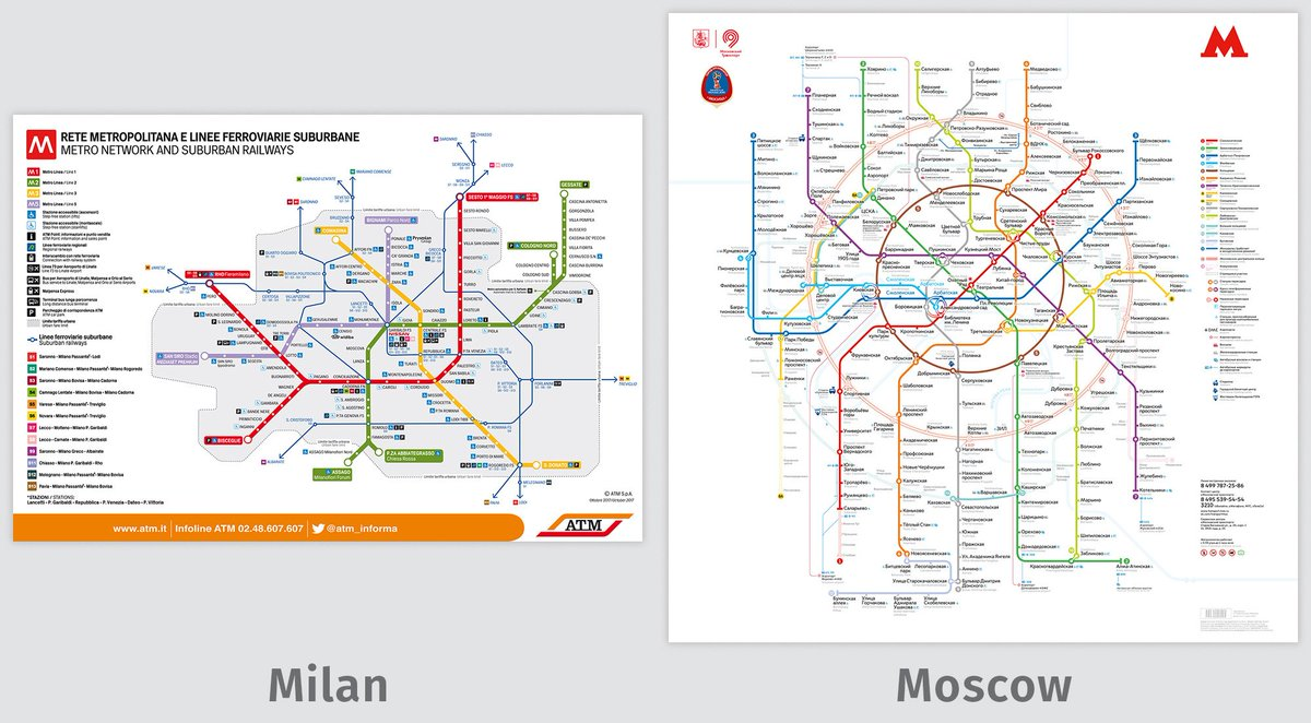 Transit Maps On Twitter Comparison Of The Milan Metro And Moscow