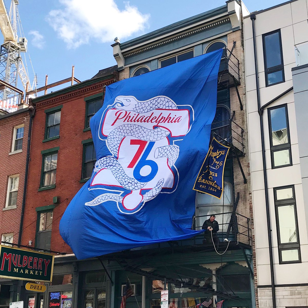 Spotted this guy hanging @Sixers flag in Old City. This photo is for all those whove been trusting the process. The time is near... #HereTheyCome #Sixers #76ers #trusttheprocess