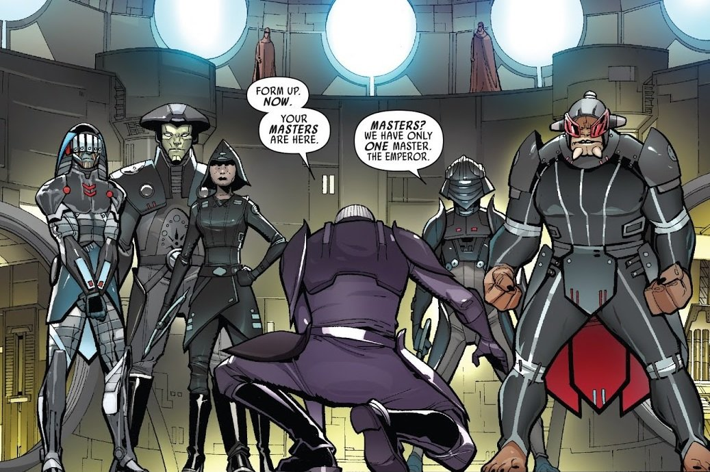 尋問官 ダークサイダーで構成された銀河帝国の組織 ヴェイダー卿の指導の下、ダブル=ブレード回転式ライトセーバーを使ってオーダー66を生き延びたジェダイの残党狩りを行い、ジェダイ・ハンターとしても知られた 反乱者との戦いで多くのメンバーを失い、0ABY以前に壊滅した