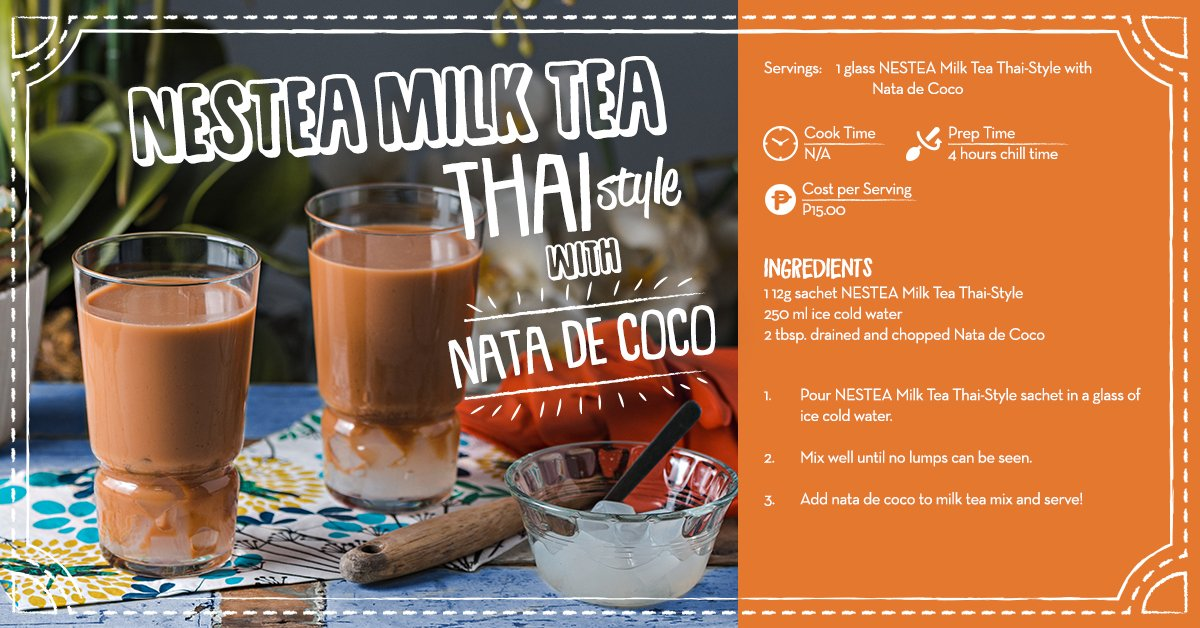 Move over halo-halo, get a cold glass of NESTEA Thai-Style Milk Tea with Nata de Coco – perfect summer cooler for the hot days ahead. https://t.co/1Xpox58N3R