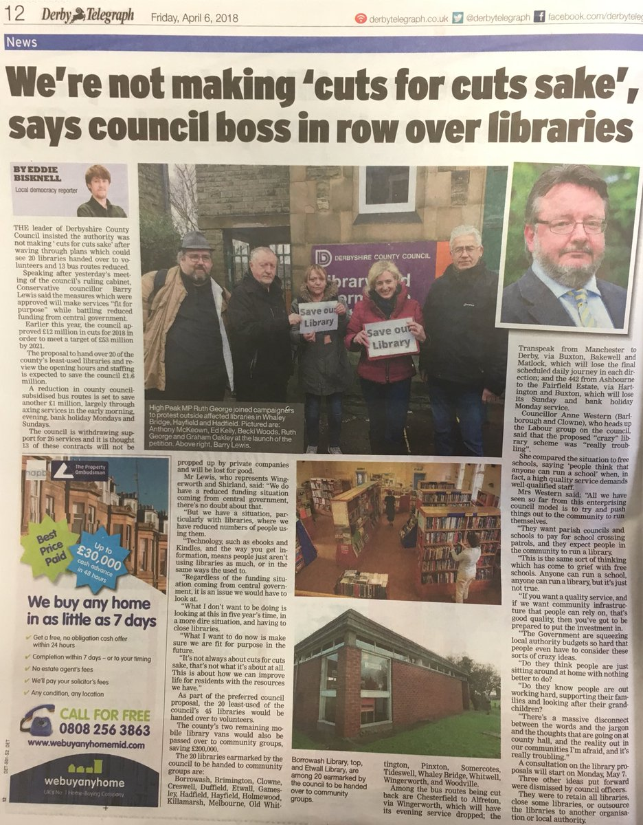 Good page for my library piece from yesterday's meeting in the @DerbyTelegraph go pick up a copy!