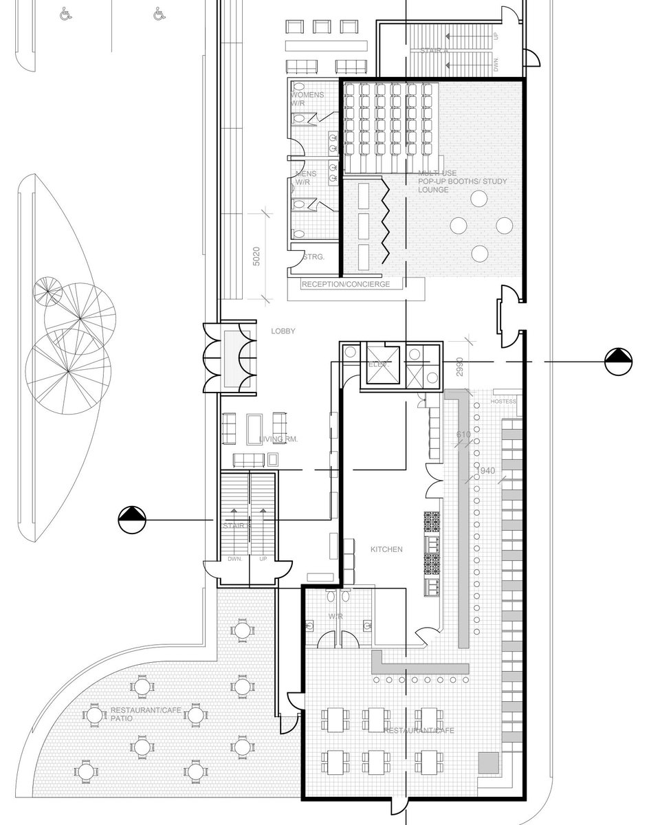 Yllescas Design On Twitter Ground Floor Plan Of A Boutique Hotel With A Restraunt And Patio Facing King Street Project From Ocaduniversity Made Using Autodesk Revit Yllescasdesign Architecture Design Dezeen Showitbetter Architizer