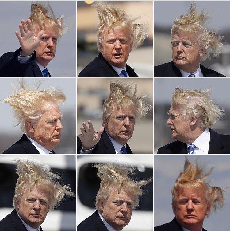 Trump hates pics of his hair circulating on social media #Retweet ♻️  #NotMyPresident https://t.co/4uvEKDaING