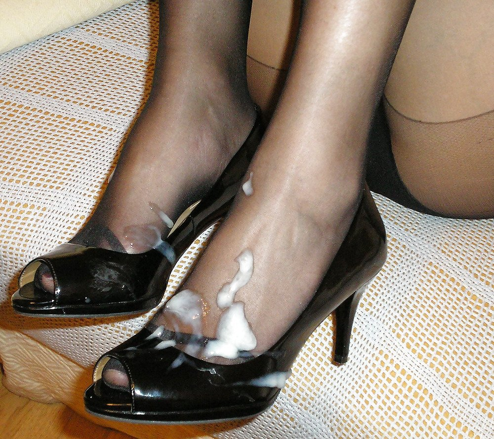 The Sexy Polished Feet Of My Wife In Sexy Shoes Getting Jizzed