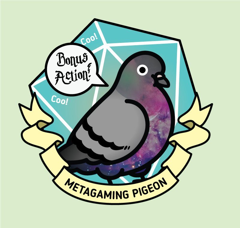 Ack. Where's a Metagaming Pigeon when you need one?! This birb was miscredited during last night's ep, and was actually done by @birdhism!