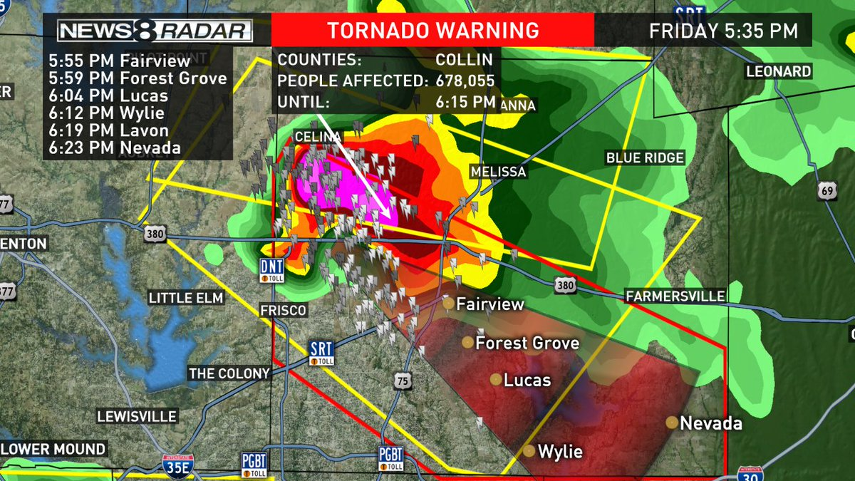 Pete Delkus On Twitter Tornado Warning For Collin County Until 6