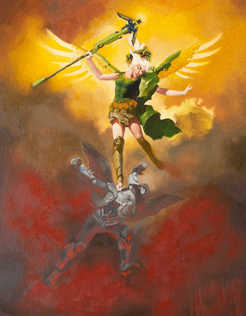 Painted a little something for @LAValiant Charity Auction next weekend, a remastered oil painting for my favorite team in the league! @gallerynucleus #VALLA #wingsout #owl2018 #overwatchleague #oilpainting #fanart #mercy #reaper #painting #overwatch #goodvsevil #lavaliant https://t.co/1edPeVFdCR.