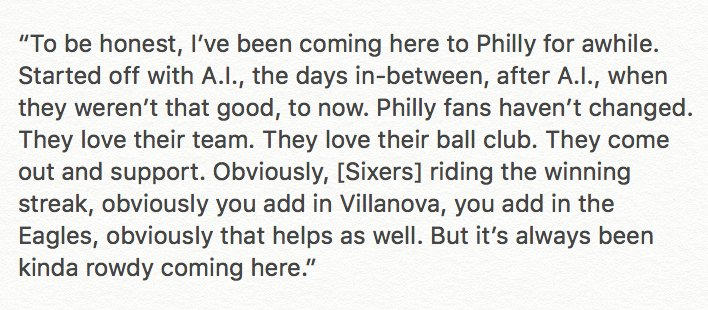 LeBron James on Philly fans: https://t.co/tFGDxogfEn