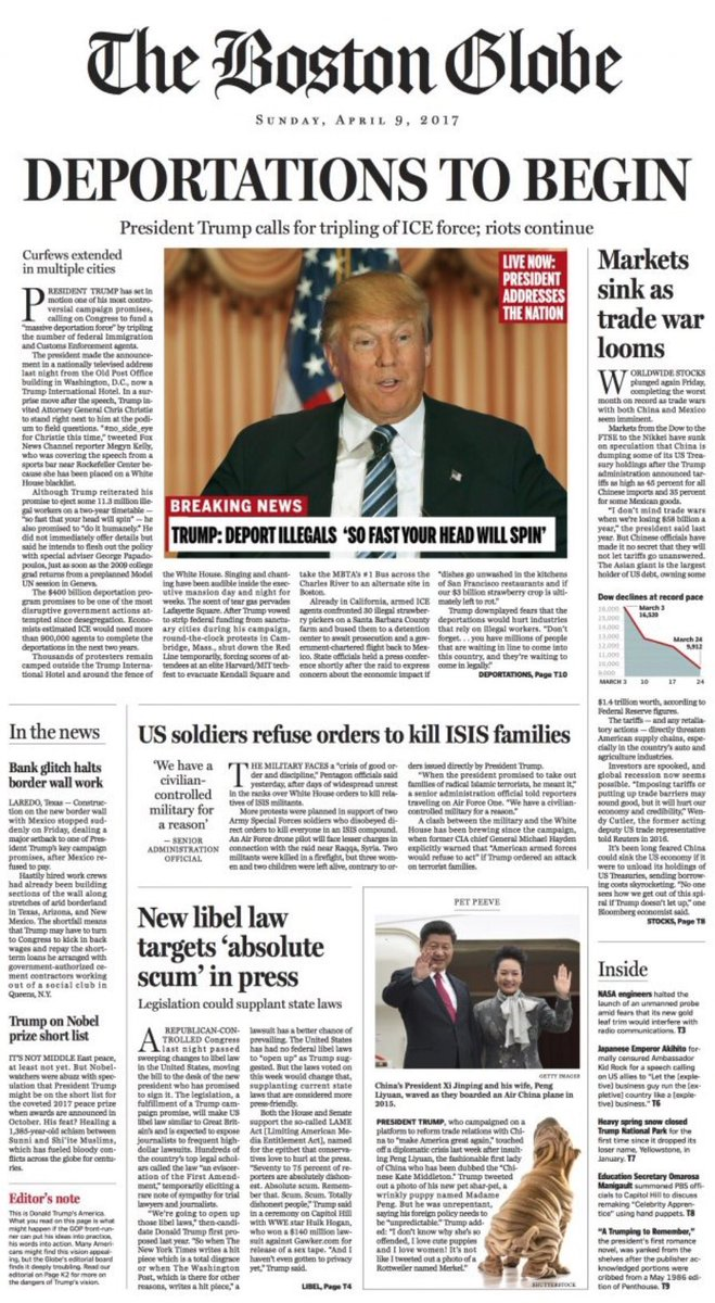 Two years ago, The Boston Globe published this parody front page — suggesting what the world would look like if Trump won the election.   Look at that date and look at ALL those headlines.