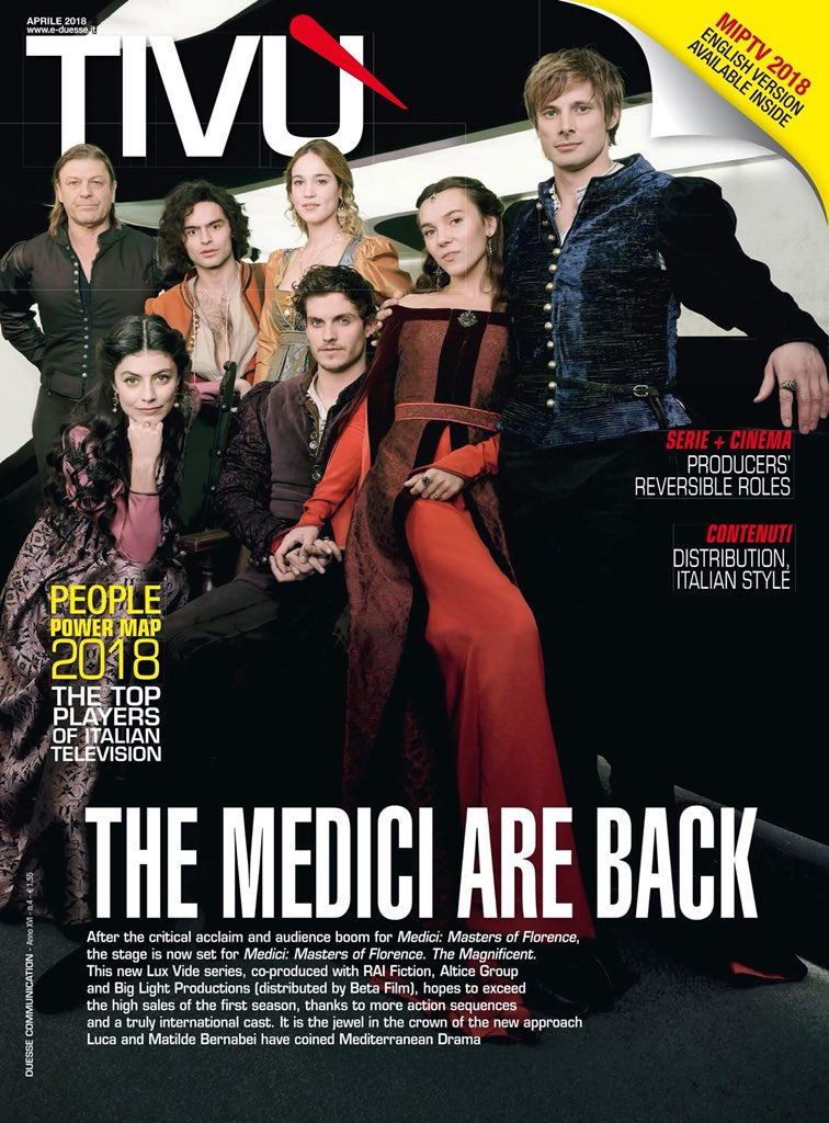 Check out @sebdesouza and the cast of @MediciSeries gracing the cover of Tivù magazine's April issue ahead of the highly-anticipated second season #medici2 #Tivù #theMediciAreBack