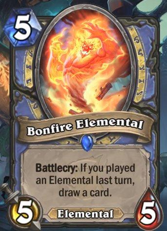 【新カード】 妖の森ウィッチウッドのメイジのミニオン。 効果は「雄叫び:前のターンにエレメンタルを使用していた場合、カードを1枚引く」 新拡張詳細: