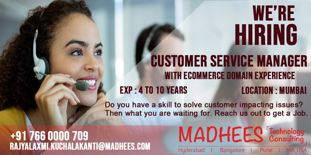 #CustomerServiceManagers who can manage e-commerce customer service support through effective way Do reach us out to get a job.<br>http://pic.twitter.com/ARMNJLmGU2