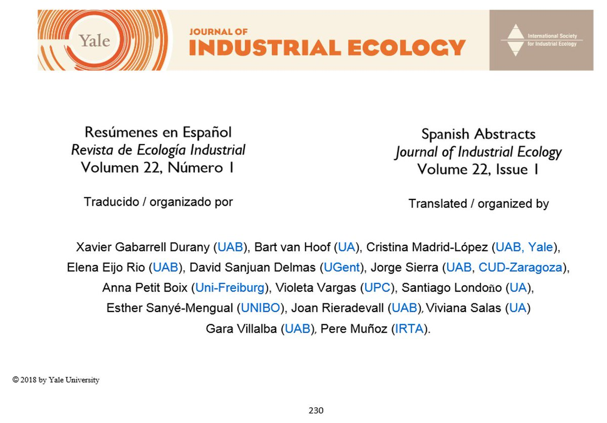 Sostenipra On Twitter Journal Of Industrial Ecology Resumen En