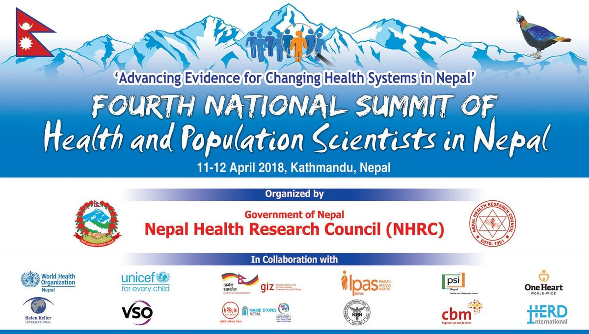 Making it happen!  4th National Summit of Health and Population Scientist in Nepal, 11-12 April 2018: Advancibg Evidence for Changing Healthh Sustems in Nepal @HERDIntl @HERDNepal #HealthResearch #Evidence2Policy #ResearchImpact<br>http://pic.twitter.com/I6VOPxgf9l
