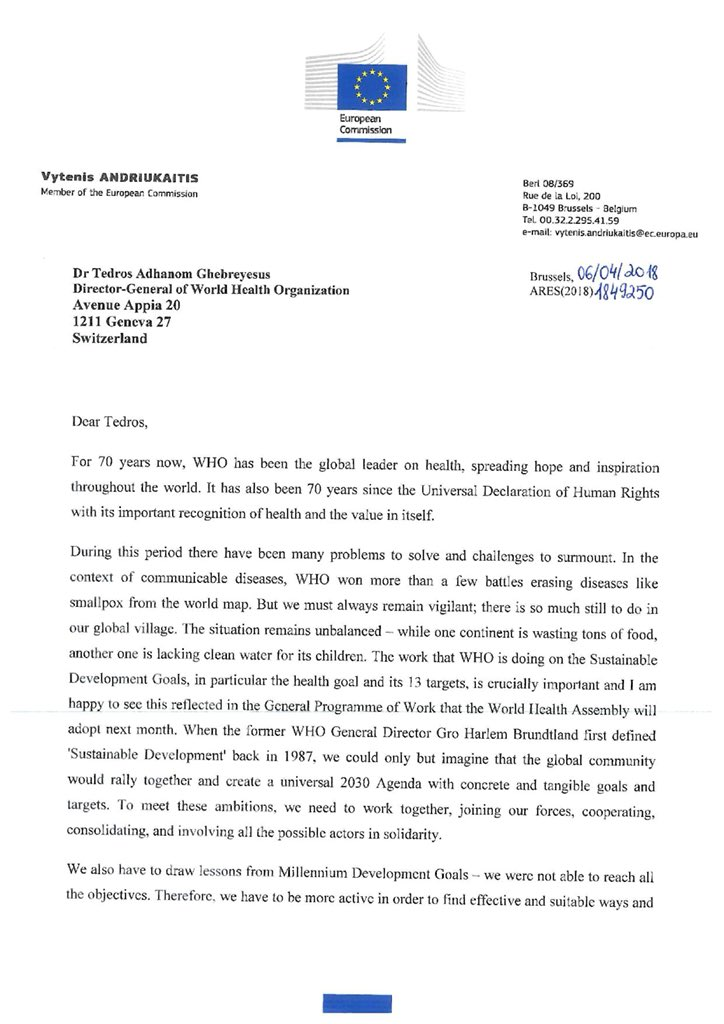 Vytenis andriukaitis on twitter my congratulations letter to vytenis andriukaitis on twitter my congratulations letter to drtedros on the occasion of whoat70 anniversary since many challenges surmounted much thecheapjerseys Gallery