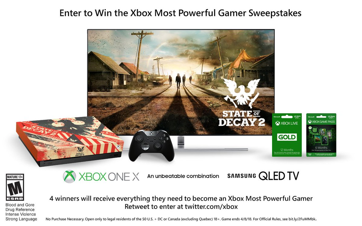 RT and follow for a chance to win: • Custom-branded Xbox One X • 12 months of Xbox Game Pass & Gold •  55' QLED 4K TV • Xbox Elite Wireless Controller   NoPurchN#PAXEaste#XboxSweepstakesc. Ends 4/8/18. Rules:  https://t.co/jC3fRUqzO6