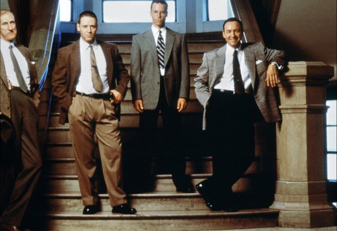 Happy 54th birthday to Russell Crowe, seen here with guys on the set of \L.A. Confidential\ (1997).