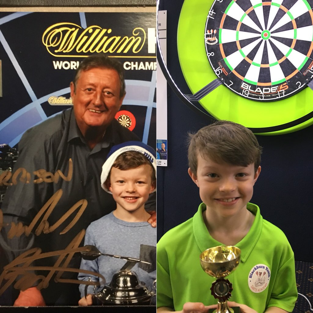 Meeting Eric 2 years ago at Ally Pally and then today Winning the Eric Bristow Memorial Trophy @ the youth Academy. Such a legend and inspiration, he will always look up to him #RIPEricBristow @ericbristow