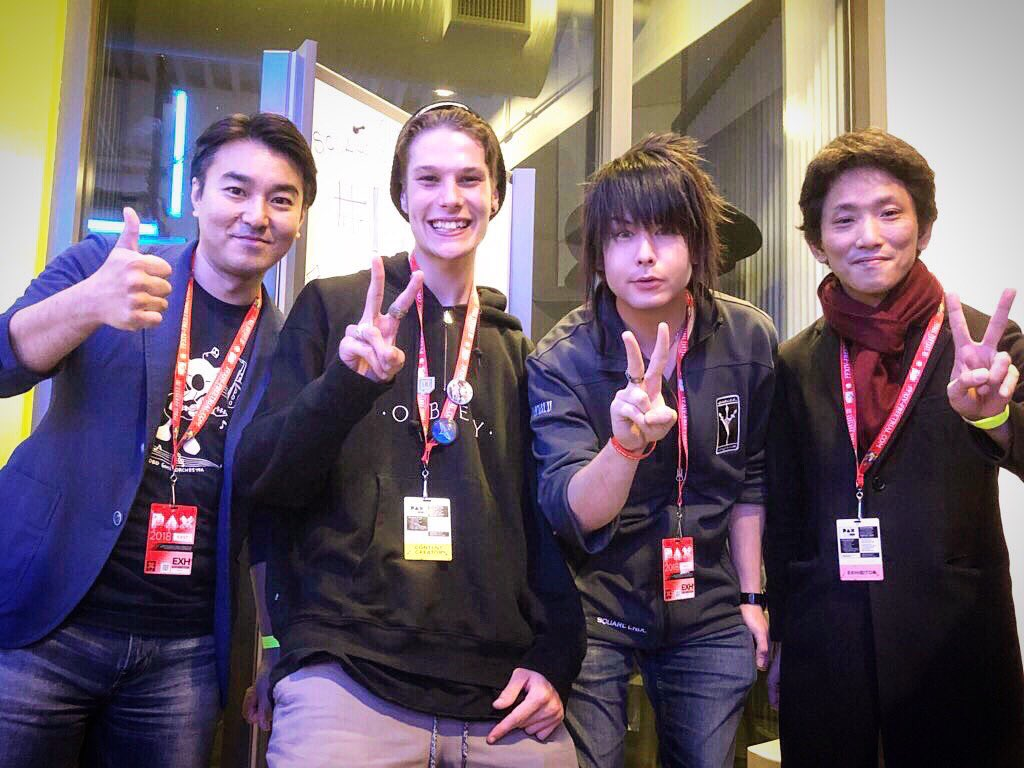 Was an absolute blast to meet Tanaka Shigefumi, head of the FFXV live team, Takefumi Terada, director of Ep Ignis and future DLC and my boy @HaradaCH , the FFXV Community manager! @FFXVEN are doing some great things!