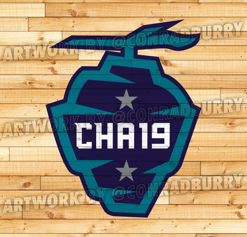 6125a7952dd ... Hornets colors...would be a nice alt logo for the Hornets if you just  dropped the stars and  19  and changed it to  CLT