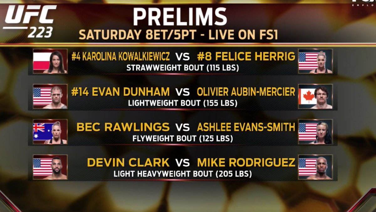 Here's tonight's #UFS223 lineup for the @FS1 Prelims - 4 exciting fights on nowpic.twitter.com/XUXGLnZpvb
