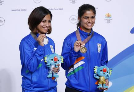 Indian women have done the country proud once more! Our heartiest congratulations to #ManuBhakar and #HeenaSidhu on winning gold and silver respectively in the 10m women's air pistol and #PunamYadav on winning gold in 69kg weightlifting at the #CommonwealthGames2018 #CWG2018