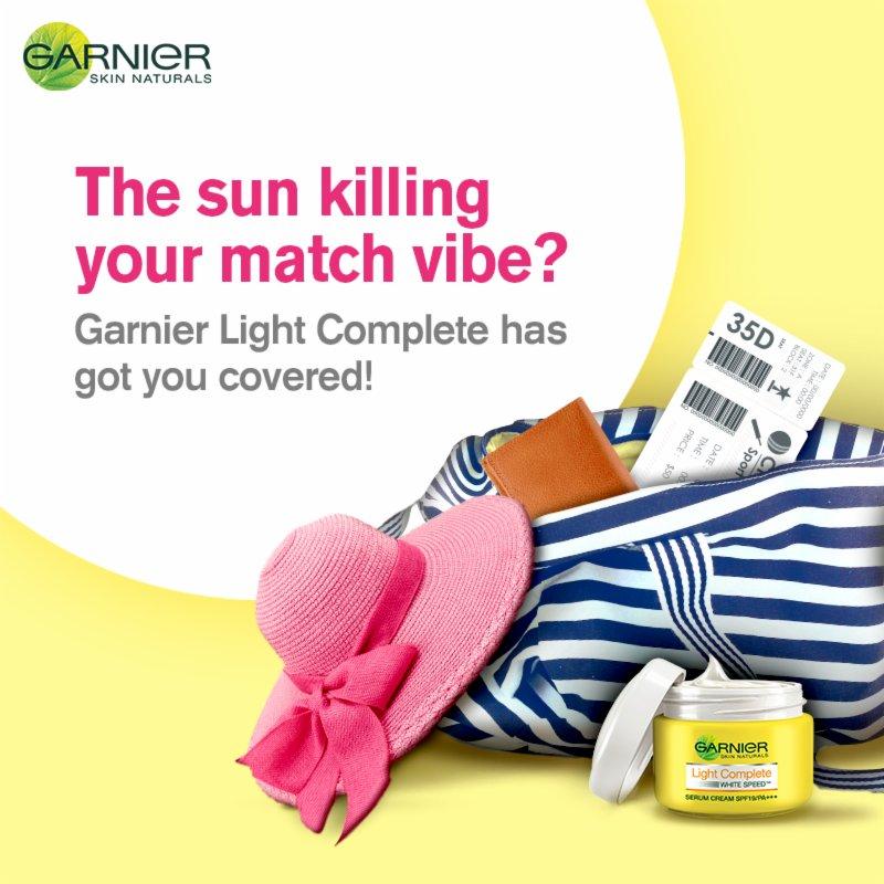With the power of SPF19 PA +++ , enjoy the cricket season with Garnier Light Complete. #GarnierLightComplete #Skincare #Garnier https://t.co/hehzXvsQKO