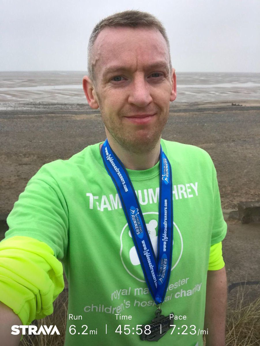 It may not be a #ManchesterMarathon medal but #Fleetwood10k today was my marathon.  I think I've got a new 10k PB, just waiting on the official chip time.  Running #IMOAC & raising money for @RMCHcharity.  #TeamHumphrey #BeSeenInGreen  💚🏃‍♂️ @fcrevents