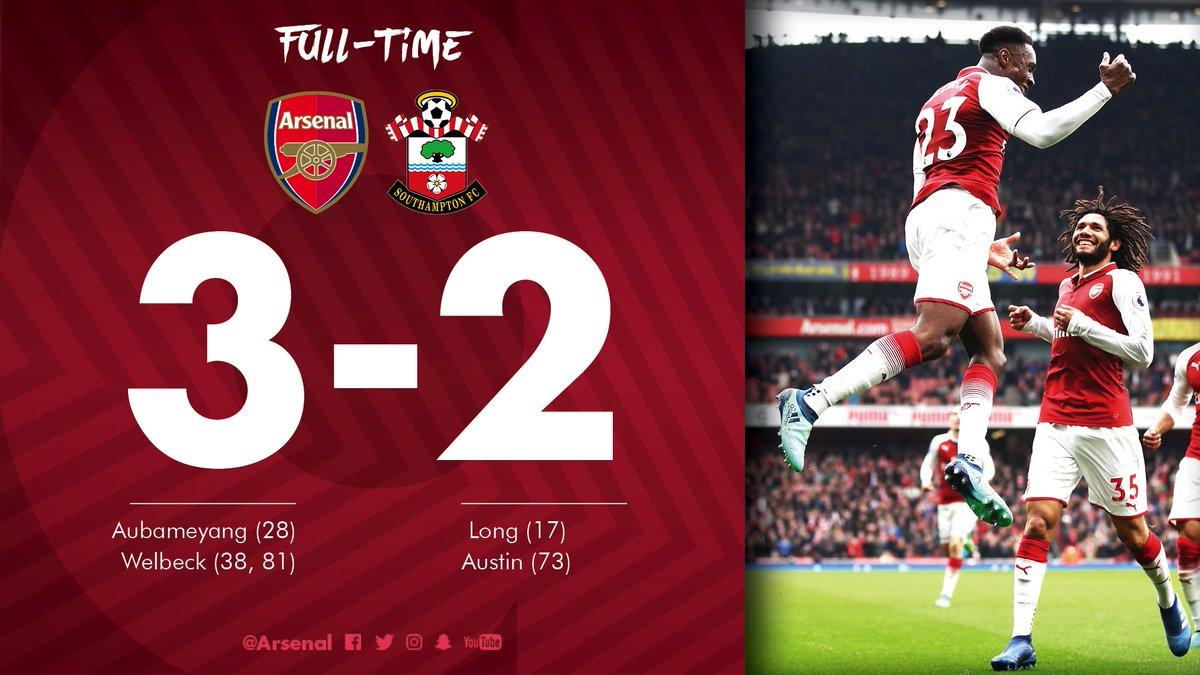 Chấm điểm kết quả Arsenal 3-2 Southampton