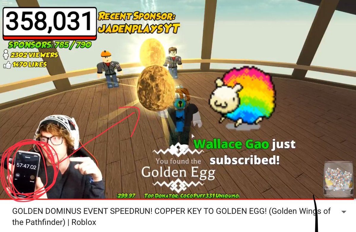 Golden Dominus Event Speedrun Copper Key To Golden Egg Golden Wings Of The Pathfinder Roblox - Code Realkreek On Twitter I Started A Live Stream On