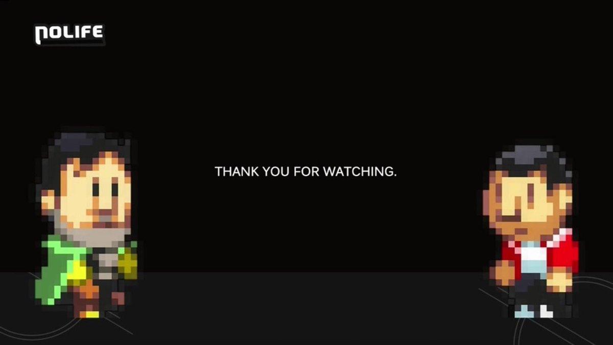 Une des dernières images montrées à l'antenne de Nolife avant de passer en mode Zombie : Alex Pilot et Sébastien Ruchet en pixel art, remerciant les spectateurs.