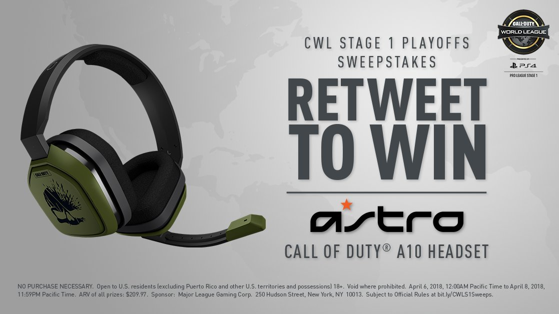 Championship Sunday sweepstakes: RT for a chance to win an @ASTROGaming A10 headset! #CWLPS4  Must RT by 11:59PM PT April 8. Rules: https://t.co/6LjSOeYP9H