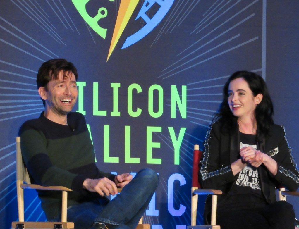 David Tennant and Krysten Ritter at their panel at Silicon Valley Comic Con on Sunday 8th April 2018 - photo by gb_reviews on Twitter