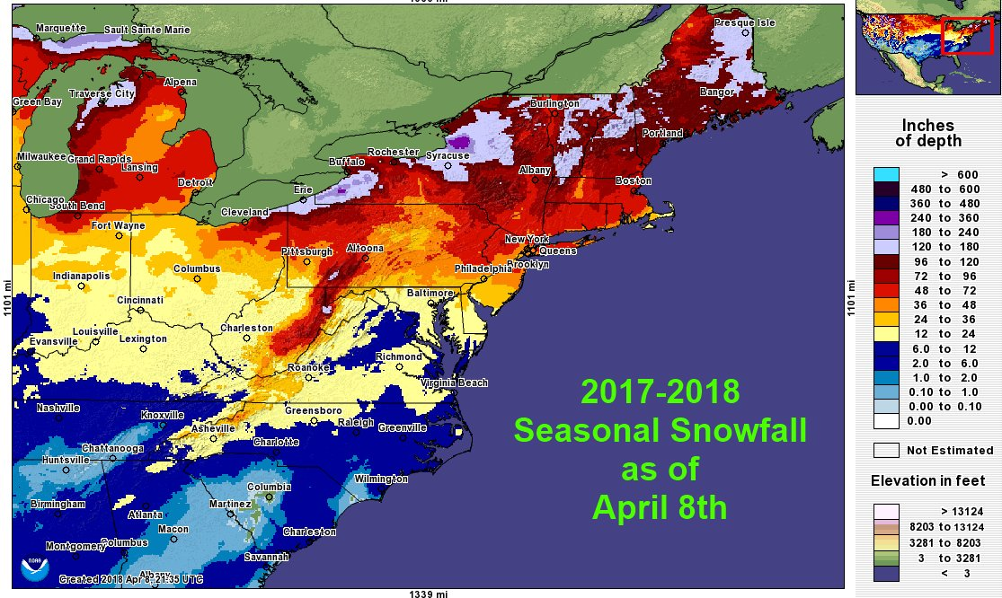 Nws Eastern Region On Twitter Updated 2017 18 Seasonal Snowfall