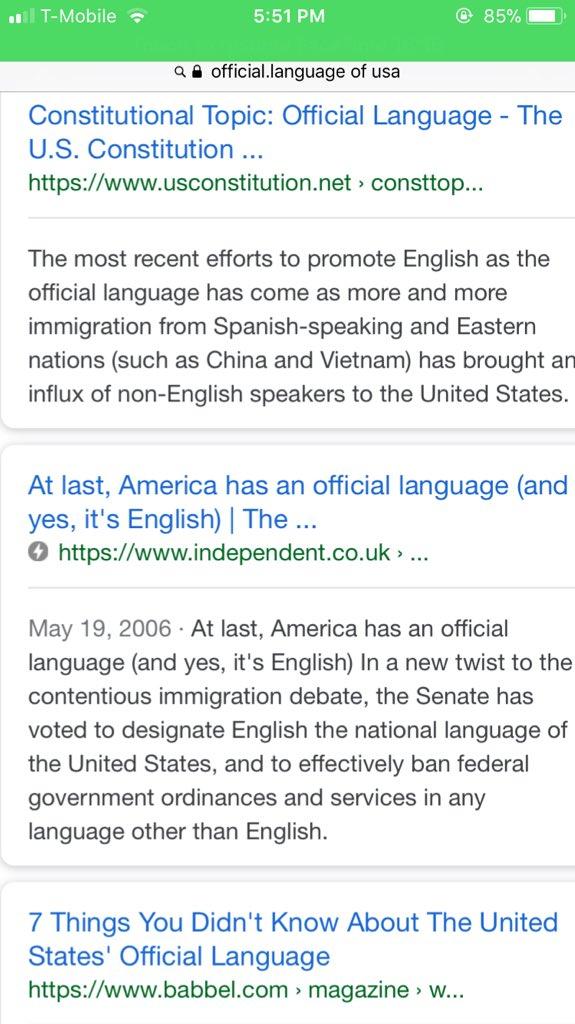 english official language debate