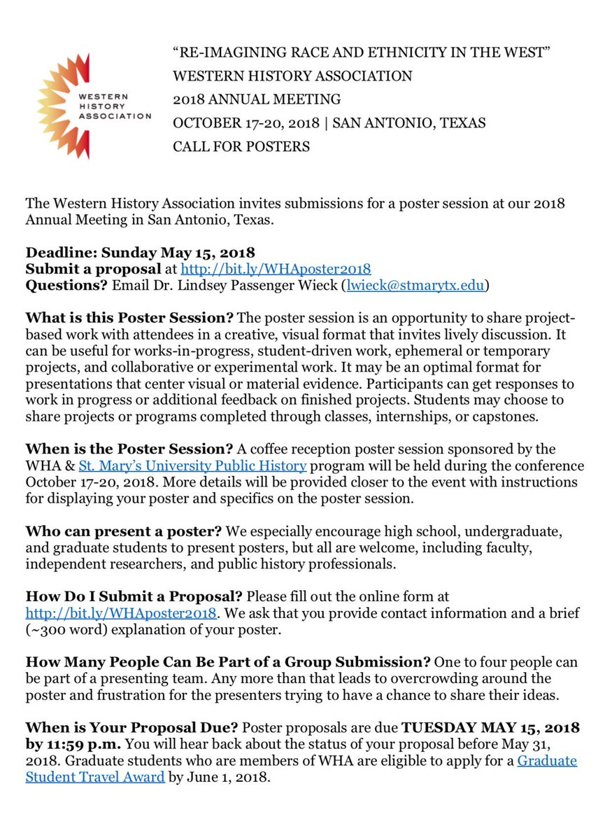 Travis ross traviseross twitter theres still time to submit posters for the western history association fall conference in san antonio whahistory whagrads lwieckpicitter falaconquin