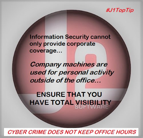 Your #infosec program cannot only provide corporate coverage. Without visibility in and out of the #office - we all allow personal usage of corporate machines. Make sure we keep #users and #business safe out there. #j1toptip #j2infosec #cybercrime does not keep office hours.<br>http://pic.twitter.com/tIq9d2Mscw