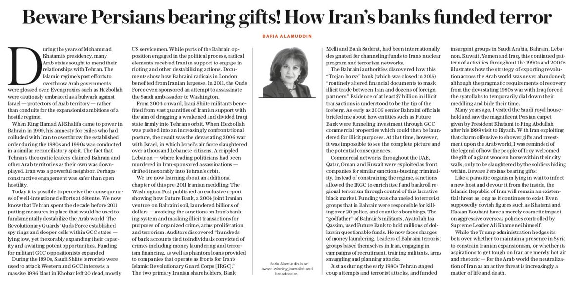 OP-ED: Like a parasitic organism lying in wait to infect a new host and devour it from the inside, the Islamic Republic of #Iran will remain an existential threat as long as it continues to exist, writes Baria Alamuddin https://t.co/qS2EJZvxki