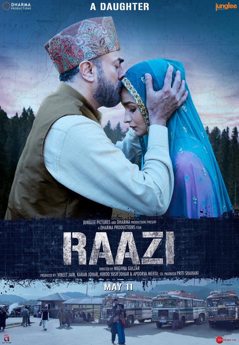 Raazi First Look Poster starring Alia Bhatt, Vicky Kaushal