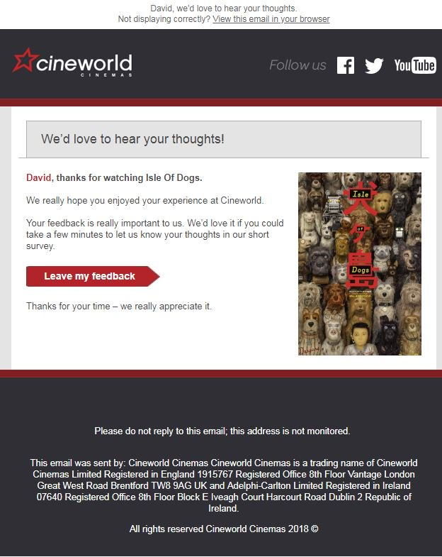 @cineworld please stop sending these emails with no unsubscribe link @ICOnews and @Ofcom will take action against you otherwise.