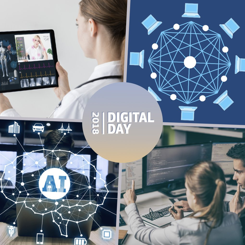 #eHealth is among #DigitalDay18 main topics announced by @EU_Commission: 💡  Joining forces on #ArtificialIntelligence 🔗  Building a EU partnership in #blockchain technologies 🏥  Sharing data to personalise #DigitalHealth   → More: https://t.co/Sukf38yr8I https://t.co/sPlD8w15ob