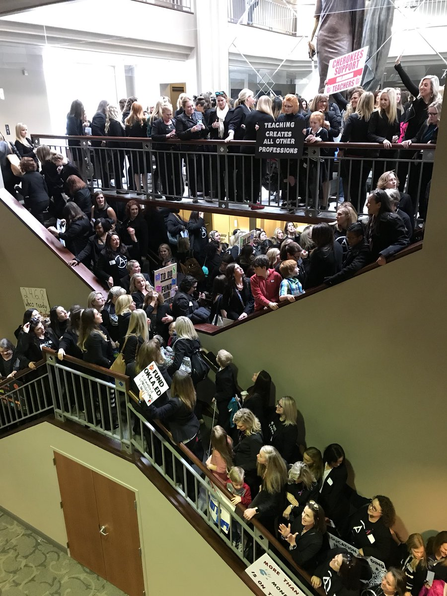 Massive group of female attorneys are leaving from the Oklahoma Bar Center en masse, heading to advocate for public education funding at the state Capitol. #oklaed #oklaedwalkout