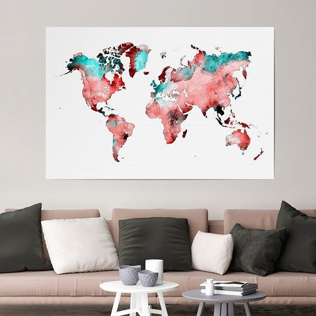 Get yourself a colorful world map.❤️💙❤️ - Find it in the link in the bio. WORLD MAP 78 RED BLUE by Justyna Jaszke - #artboxone #bespecial https://t.co/bhW6EOfQrA