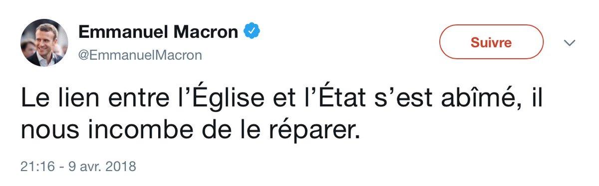 Le lien entre «l'Église et l'État» n'a pas lieu d'être. #Macron va trop loin. C'est irresponsable !