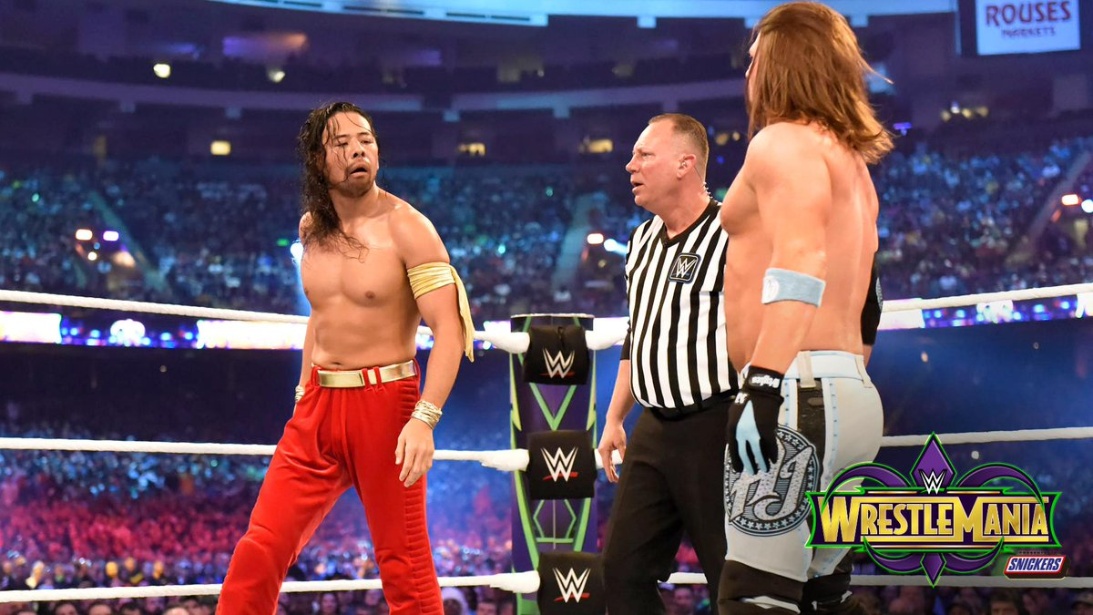 .@ShinsukeN and @AJStylesOrg faced off in a THRILLING DREAM MATCH at #WrestleMania! PHOTOS: wwe.me/lKceY4