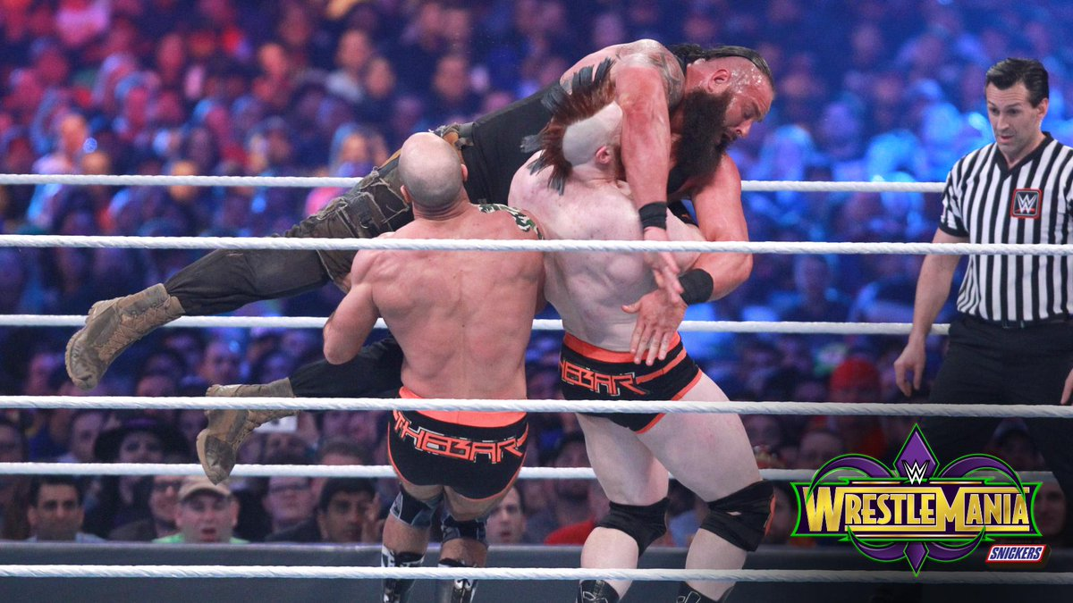 .@BraunStrowman joined forces with a very special @WWEUniverse member when he challenged @WWESheamus & @WWECesaro for the #RAW #TagTeamTitles! #WrestleMania PHOTOS: wwe.me/wLXR4v