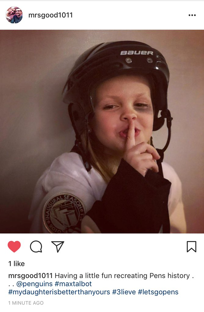 "@penguins @PensInsideScoop @PhrillKessel @Max25talbot my stepdaughter recreating the infamous ""shhhhh"" to prepare for Round 1!"